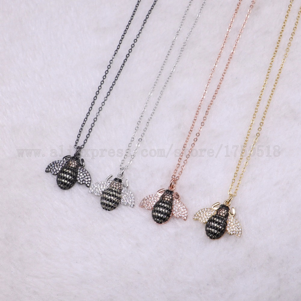 5 strands Bee Insects bugs pest necklace for lady Bee pendant small size jewelry mix color necklace pets beads 2694