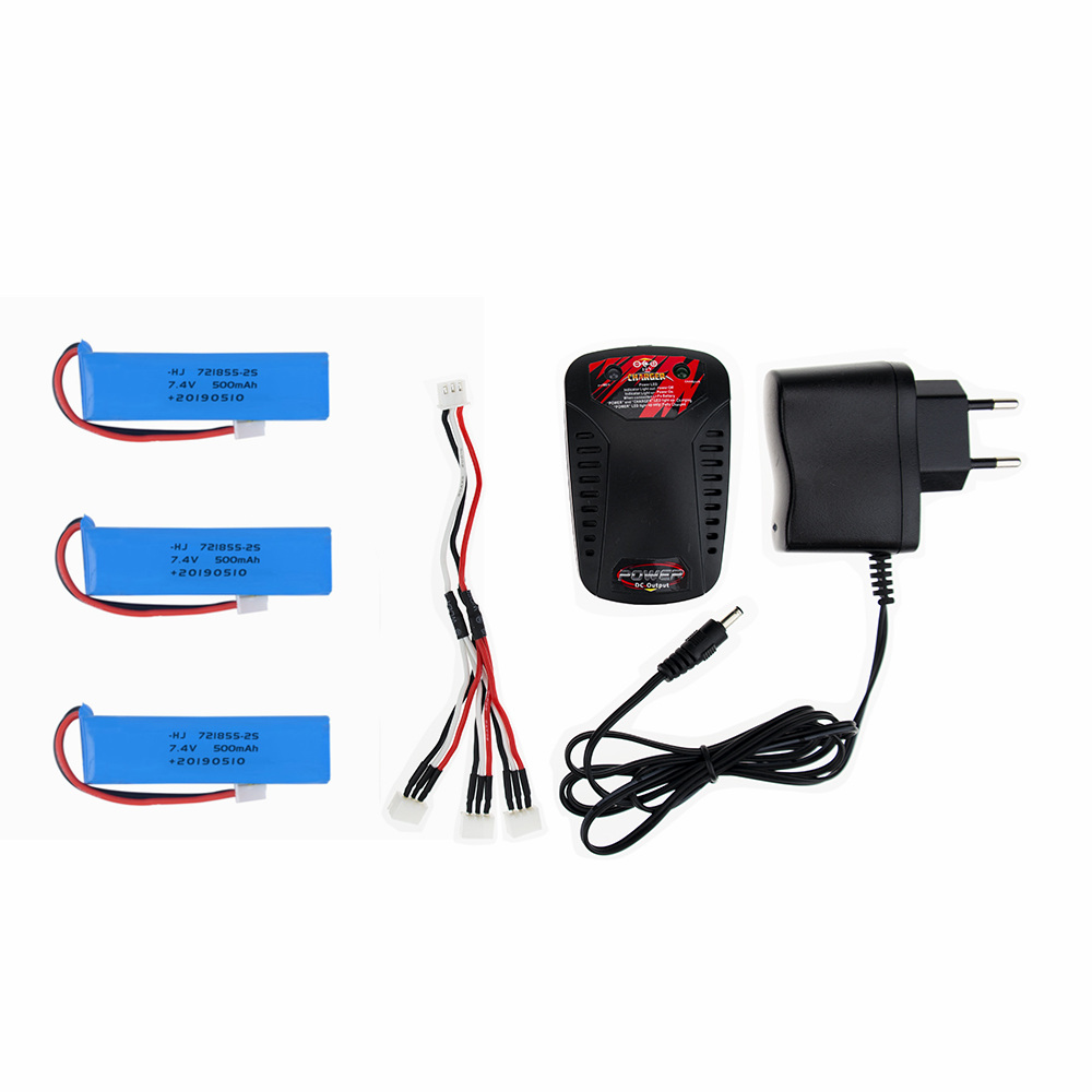 3 pcs <font><b>7.4V</b></font> <font><b>500mah</b></font> <font><b>battery</b></font> with Charger and cable For Wltoys 20402 20404 20409 1/20 RC Car Spare parts 20402-0658 image