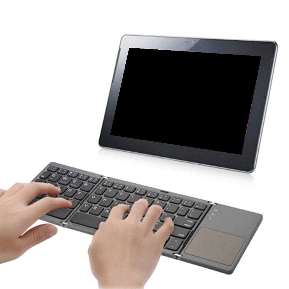 Nouveau A18 Portable deux fois pliant Bluetooth clavier BT sans fil pliable pavé tactile clavier pour IOS/Android/Windows ipad tablette