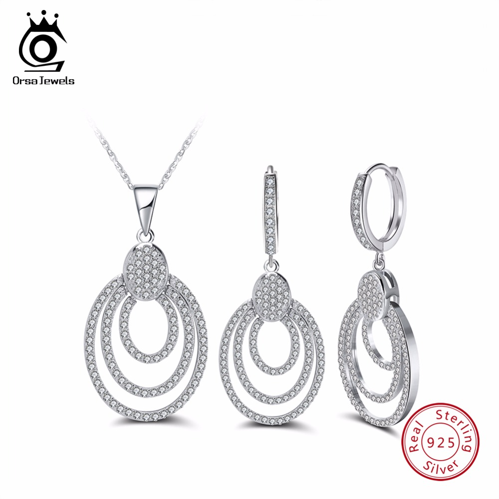 где купить ORSA JEWELS Genuine 925 Sterling Silver Women Necklace&Earrings Sets With AAA CZ Hollow Design Bohemia Style Female Jewelry SS08 по лучшей цене