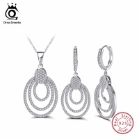 ORSA JEWELS Genuine 925 Sterling Silver Women Necklace&Earrings Sets With AAA CZ Hollow Design Bohemia Style Female Jewelry SS08