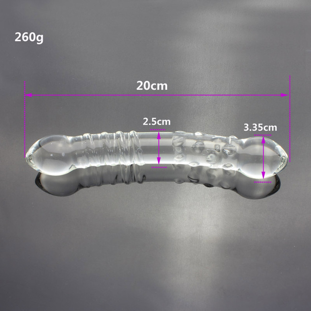 Women double headed penis glass ribbed particle dildo dick stick anal plug vaginal stick butt adult sex toy products for women