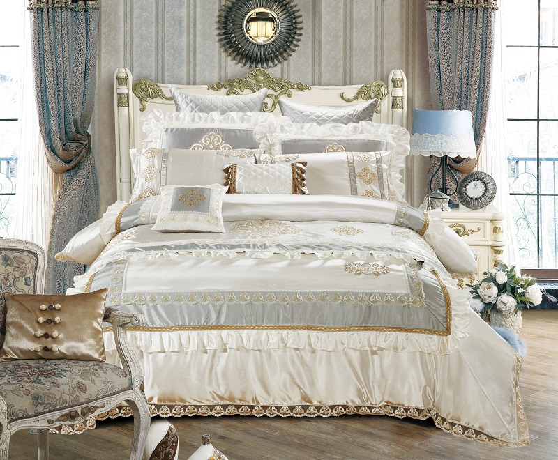 Nature Silk Queen King Size White Luxury Royal Bedding Set