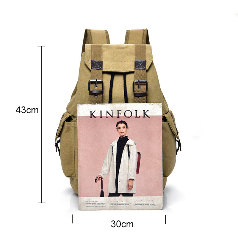 Top Canvas Backpack Men Drawstring Webbing Snap Travel Luggage Army Bags Military Rucksack Hiking Climbing Bags Mochila XA452WD 2
