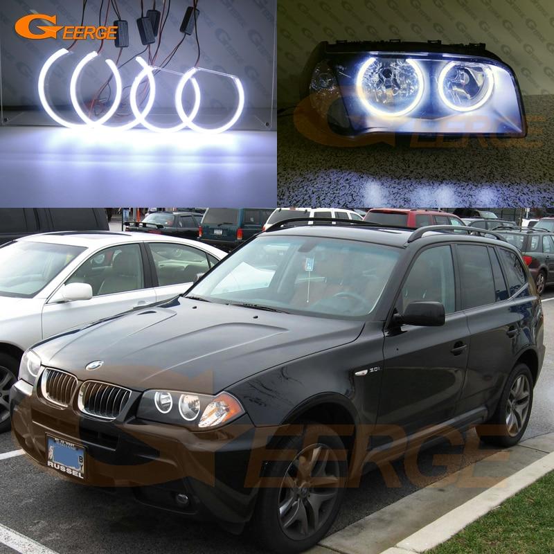 Для BMW E83 X3 2003 2004 2005 2006 галогенные фары отличное Ультра яркое освещение COB led angel eyes kit halo кольца-in Фара для авто в сборе from Автомобили и мотоциклы