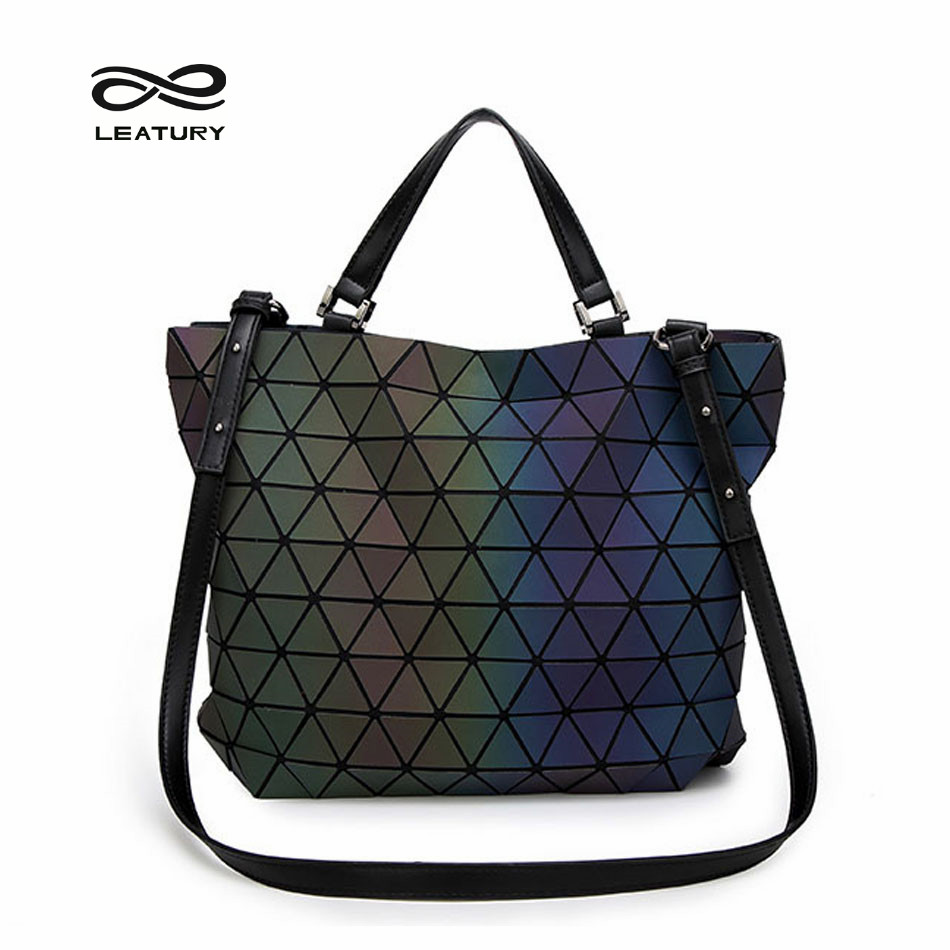 ФОТО Leatury Brand 2017 Noctilucent Women bag Geometric Plaid Women Handbag Shoulder&Cross body bag Lattice Ladies evening Bags