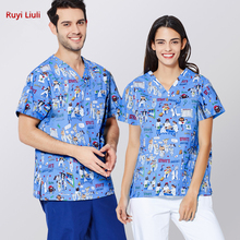 Surgical clothes hand washing mens and womens surgical pet doctors nurses suits printed operating room
