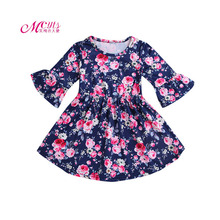 Baby Girls Dress 2019 Fashion Kids Dresses for Girls Floral Print Long Sleeve Princess Dress Children Clothing 1 2 3 4 5 Years girls dress spring 2018 children s floral print long sleeve princess yarn dresses autumn teenager kids clothing for 5 15yrs