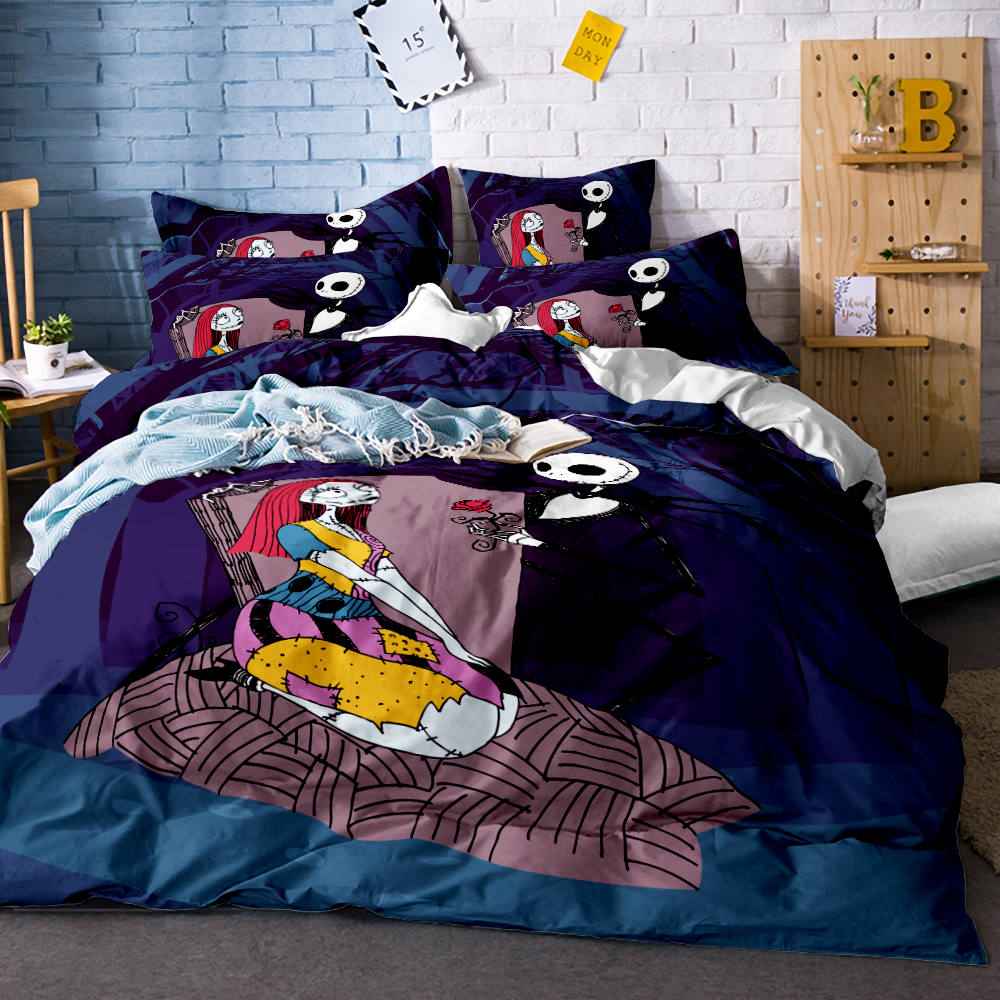 Happy Halloween Bedding Set Nightmare Before Christmas Cool Printed Bed Linen Soft Duvet Cover With Pillow Case