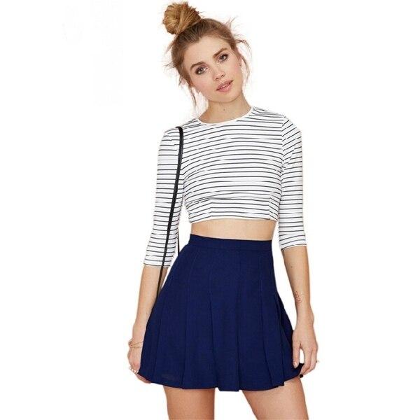 84036d687 Azul cintura alta faldas plisadas mujeres moda Casual Summer Girls .