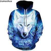 Blue Rose Animal Wolf 3D Pattern Print Hoodie Sweatshirt Winter Hoodie Sweatshirt Fashion Casual Unisex Pullover Jacket