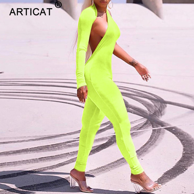 Articat Fluorescent Green One Shoulder Sexy Jumpsuit for Women 2018 Autumn Long Sleeve Backless Skinny Playsuit Casual Overalls
