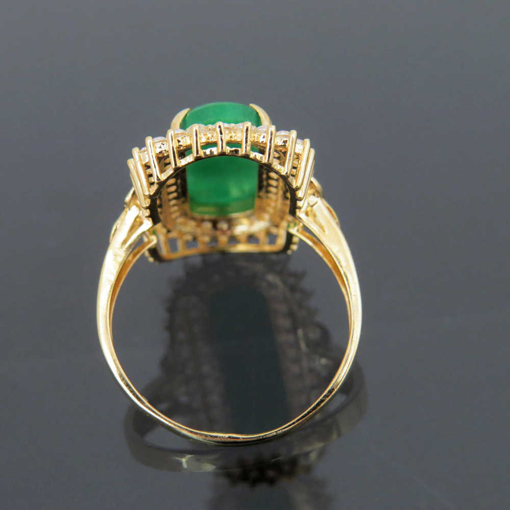 14K สีเหลืองทองธรรมชาติ Apple สีเขียวหยกสีขาว Moissanite แหวนหมั้นแต่งงานแหวนผู้หญิง