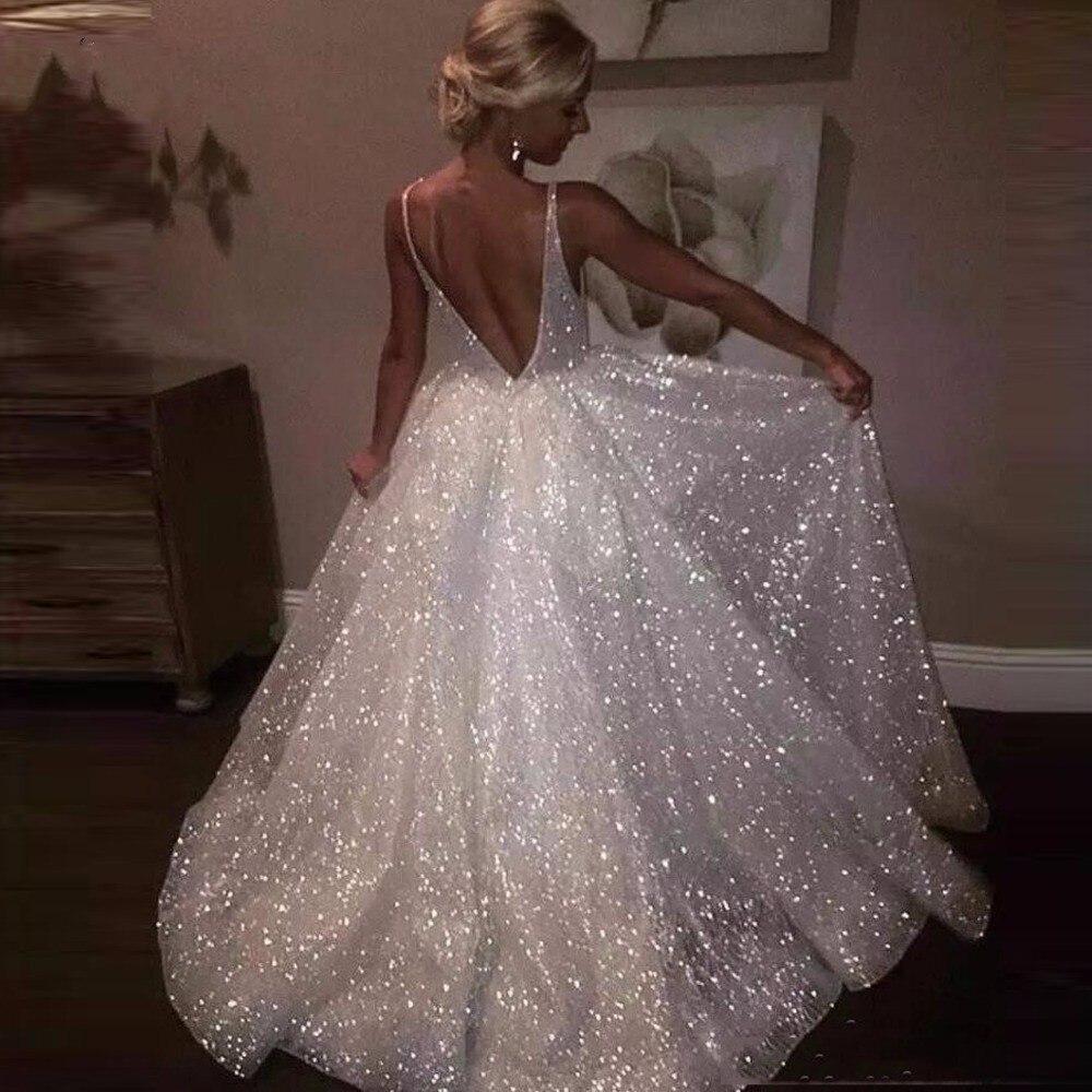vestido de festa longo Formal Party Gowns for Women Sparkle White Sequins   Evening     Dresses   Deep V-neck Spaghetti Formal   Dress