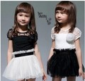Anlencool girls dress children's clothing style solid color trade dress in black and white little Sasa high quality baby dress