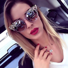 Women 2016 Cat Eye luxury vintage Retro Style Coating Oversize Oval sunglasses Female Brand Designer Sun Glasses de sol