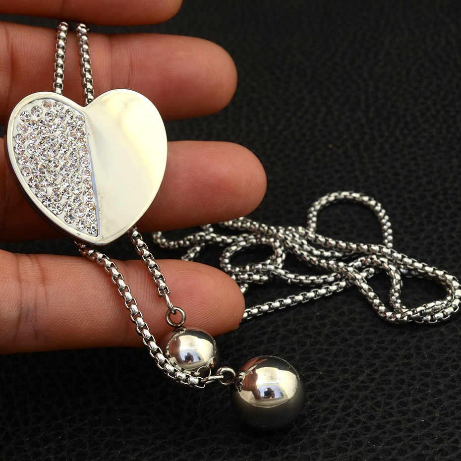 Модное ювелирное изделие из нержавеющей стали для женщин и девочек 900 мм длинное Очаровательное ожерелье с подвеской в виде сердца высокого качества NEILALBB