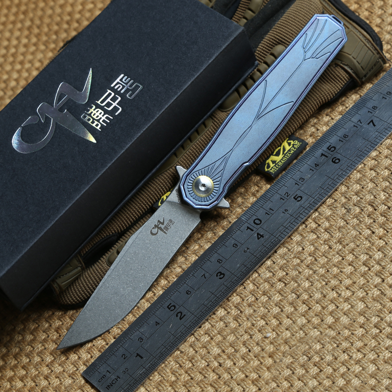 CH 3505 Flipper ball bearing folding knife S35vn blade TC4 Titanium handle outdoor tactical camping Drills Saws knives EDC tool efeng moon folding knife d2 blade tc4 titanium handle ball bearing flipper tactical camping tool knife top quality
