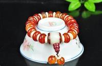 Mode Hand Gebreide Natuurlijke Rode Witte steen Kralen Elastische Armbanden Armbanden