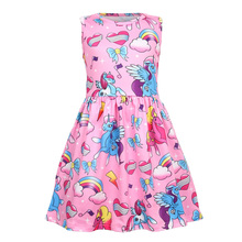 Summer Girls Dress Children Cartoon Unicorn Party Birthday Sleeveless Dresses Kids Baby Ice Silk Princess Clothes цены