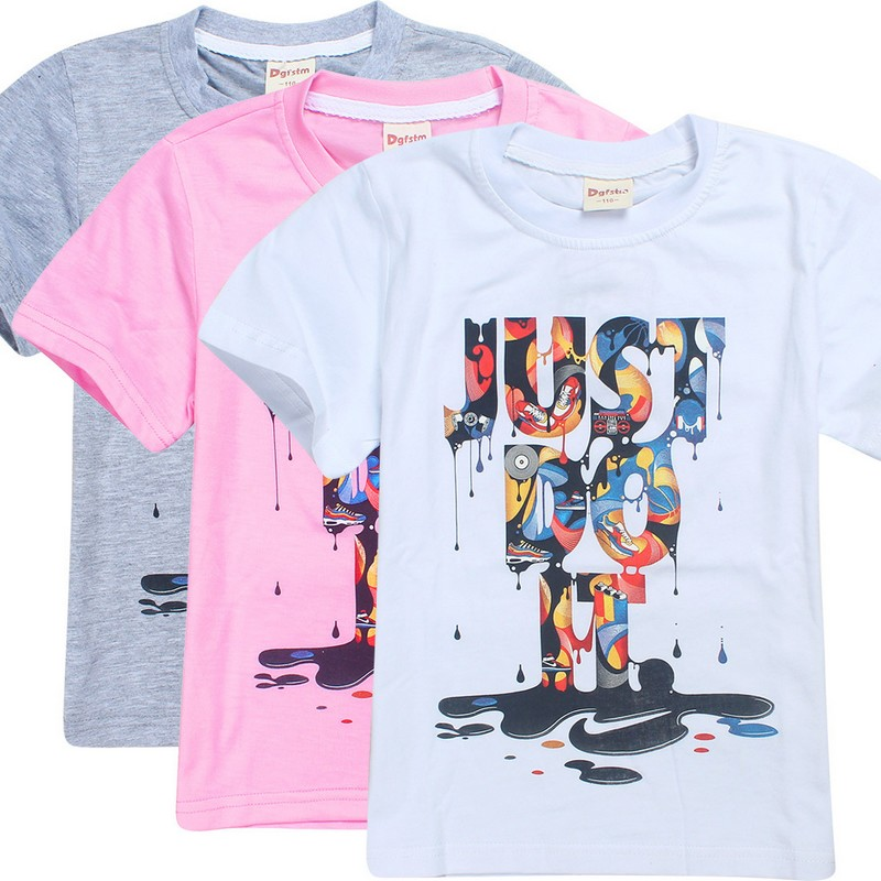 Boy Tshirts for Children Cotton Summer 3D Printed Just Do It T-Shirts for Girl Teenage Kids Clothes Tops Tees 4-12Y Wholesale