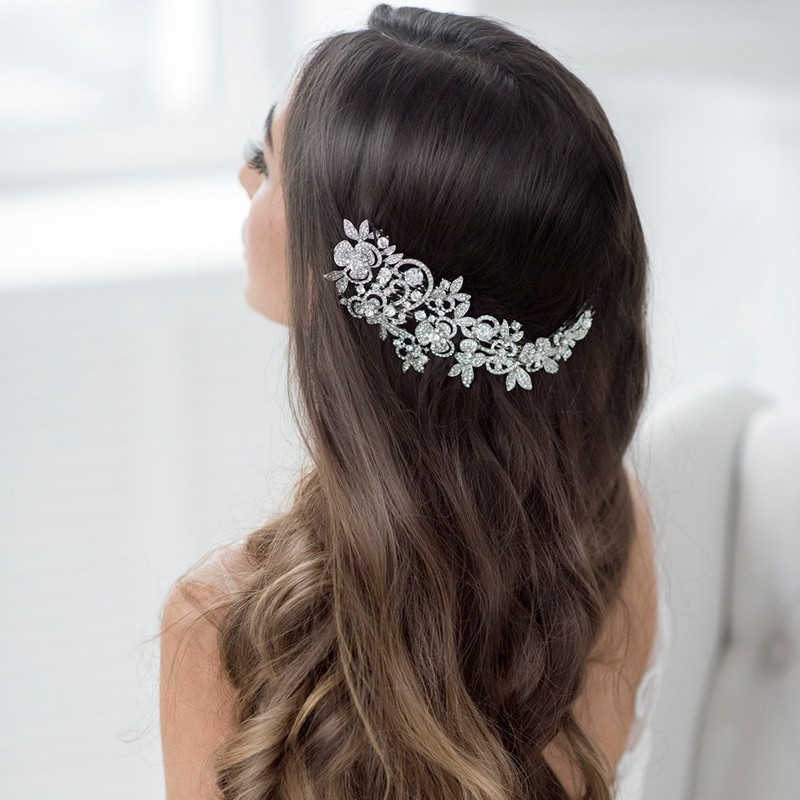 Fashion Long Flower Wedding Hair Comb Gold & Silver Clear Rhinestone Crystal Hair Accessories Women Jewelry 1