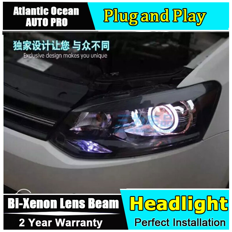 2011 2014 for VW polo headlights bi xenon lens car styling Angel Eyes LED DRL car for polo head lamps led bar H7 parking light