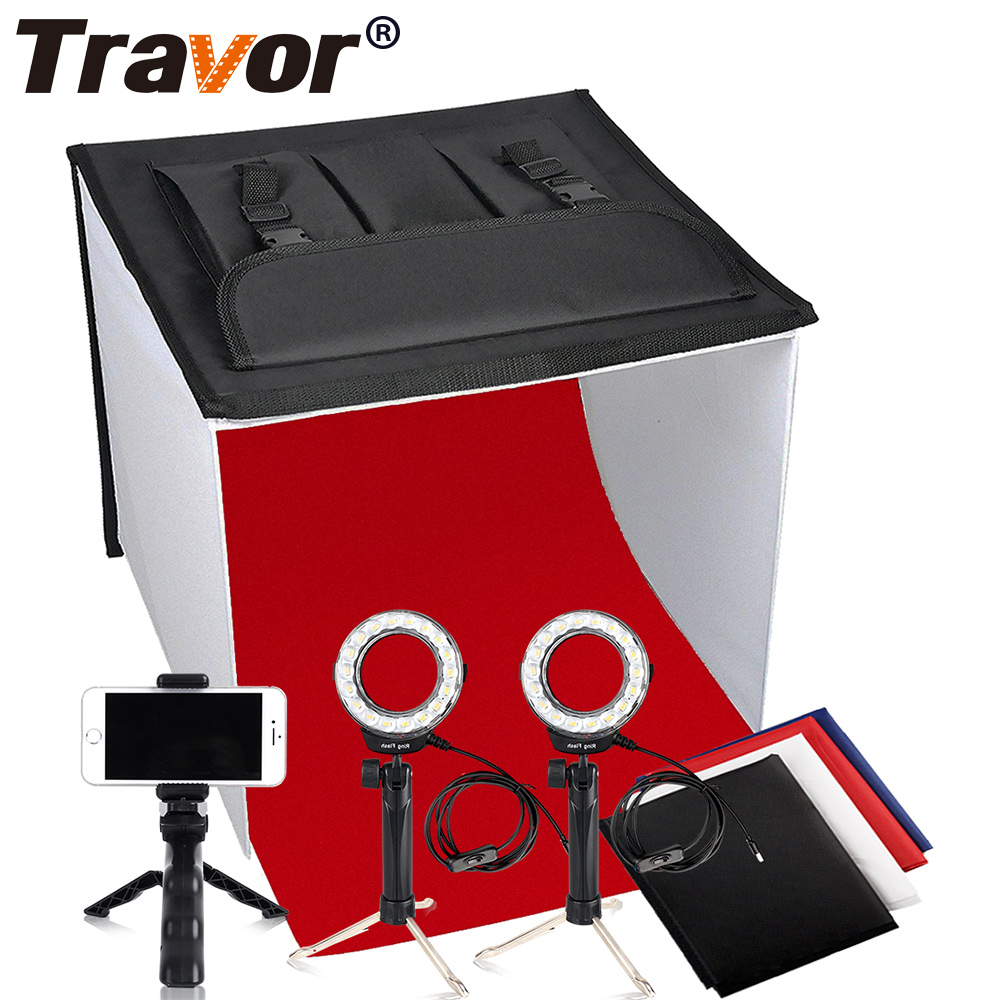 Travor 16 inch Table Top Photo Studio Continous Lighting LED Light Shooting Tent Box Kit with Camera Tripod Cell Phone Holder