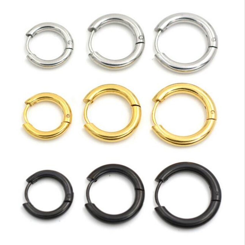 404b4f8a5 Detail Feedback Questions about 2 pieces Gold Silver Black 316L Brand New Stainless  Steel Round Hoop Earrings Korean Cute small Circle Ear Jewelry on ...