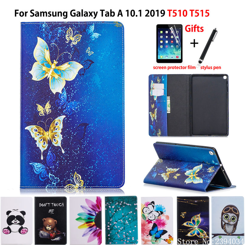 <font><b>Case</b></font> For Samsung Galaxy Tab A 10.1 2019 <font><b>T510</b></font> T515 <font><b>SM</b></font>-<font><b>T510</b></font> <font><b>SM</b></font>-T515 Cover Funda Tablet Fashion painted Stand Shell +Film+Pen image