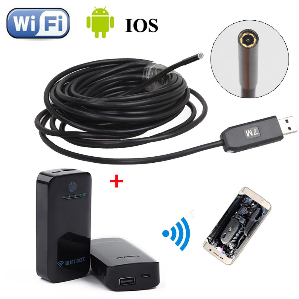 все цены на 6LED 7M Dia 5.5MM Endoscope Waterproof Inspection Camera USB+WIFI BOX For IOS And Android Free shipping