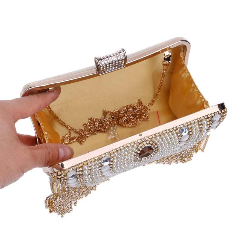 Rhinestones Tassel Clutch Diamonds Beaded Metal Evening Bags Chain Shoulder Messenger Purse Evening Bags For Wedding Bag