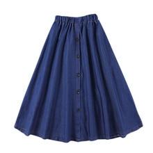 Women Fashion Korean Solid Elastic Waist A-Line Denim Skirt Button Jean Skirt Ladies Casual High Waist Loose Big Hem Midi Skir