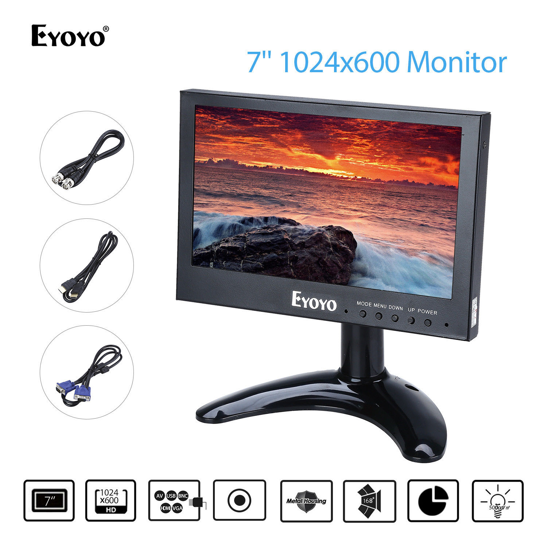 Eyoyo  KJ 7 Mini Monitor 1024x768 LCD Screen Display BNC/VGA/AV/HDMl Output Metal Hosing Design DC 12V Wide Angle View Black zk080tn 705 8 inch 1024x768 4 3 metal case vga signal open wall hanging embedded frame industrial monitor lcd screen display
