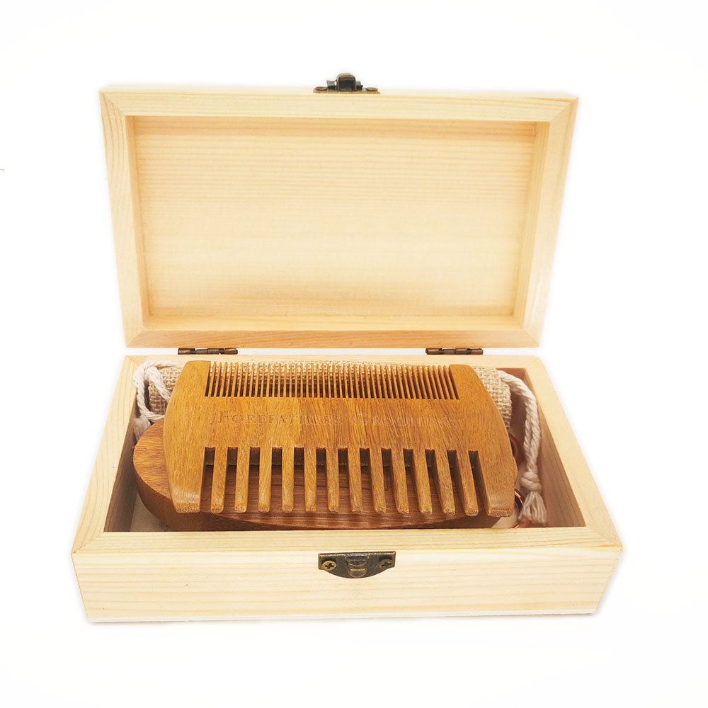 Купить с кэшбэком 100pcs Beard Care Kit Set Wide Tooth Combs Bamboo Beard Brush Suit in Wooden Box Customized Private LOGO for Amazon Ebay