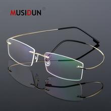 цена на Titanium Alloy Rimless Flexible Optical Glasses Frame Man woman Myopia Eyeglasses Frame Prescription Spectacle Frameless Q860