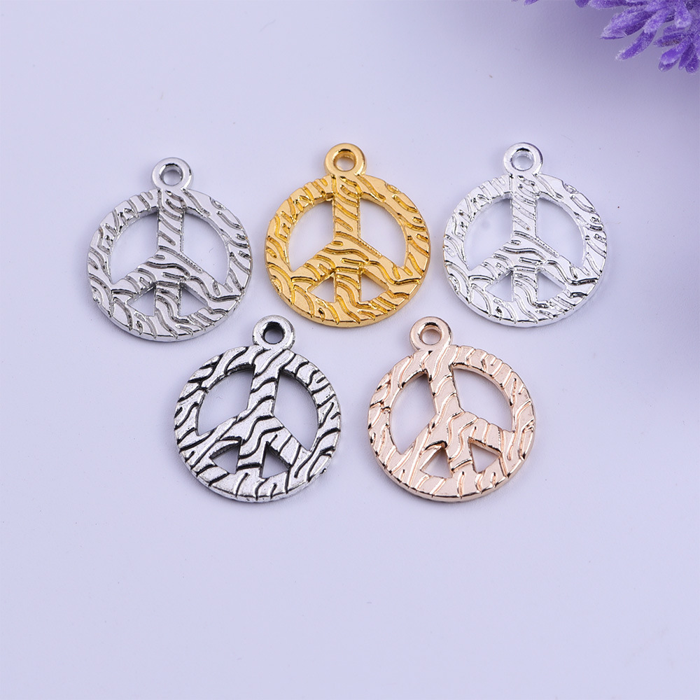50pcs Gold/ Silver Plated Peace Sign Charms Pendants for Jewelry Making DIY Handmade 18x21.5mm