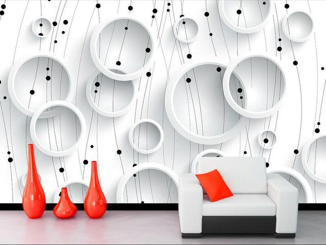 Wallpaper Custom Mural Non Woven Room Black And White Line Circle