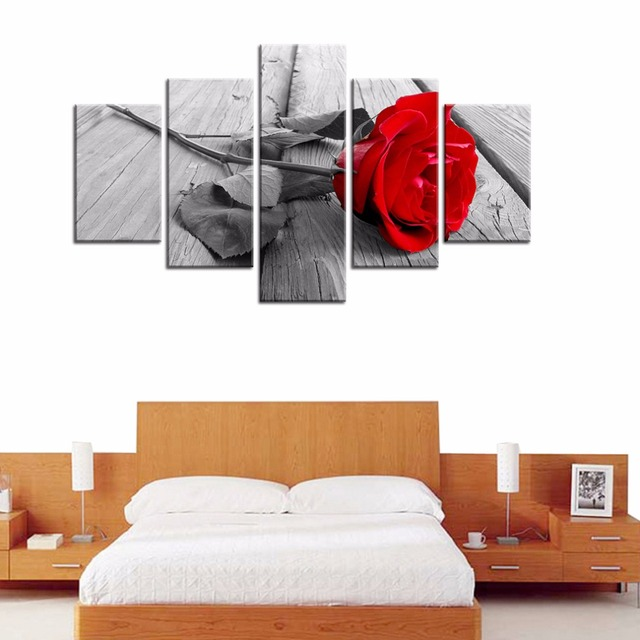 Canvas Prints 5 Panels Art Rose In Black White Red Decorative Canvas Wall  Art Bedroom Home