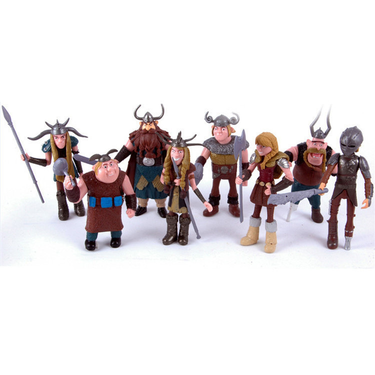 New Set of 8 Pcs 10-13cm How to Train Your Dragon Hiccup Astrid Stoick Action Figures Toys free shipping synthetic blonde ponytail how to train your dragon 2 heroine astrid cosplay wig