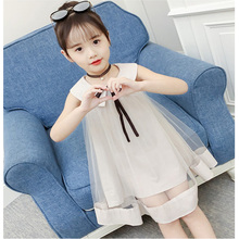 Summer Girls Princess Dress Childrens Evening Clothing Kids Chiffon Bow Dresses Baby Girl Party Peter pan Collar Dress cute short pink and white flower girl dresses peter pan collar knee length baby girls summer dress 1st birthday outfit with bow