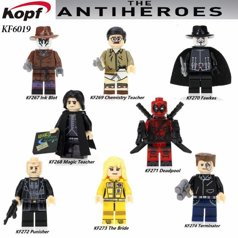 Single Sale Super Heroes The Antiheroes Guy Fawkes Deadpool Punisher Chemistry Teacher Building Blocks Children Gift Toys KF6019 single sale super heroes red yellow deadpool duck the bride terminator indiana jones building blocks children gift toys kf928