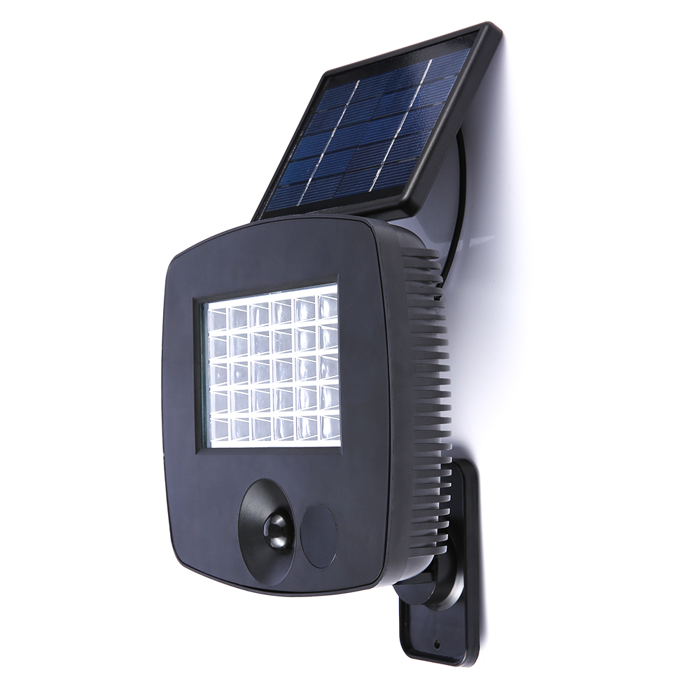 30LED Solar Powered Solar Light Wall Light PIR Motion Sensor Outdoor Lighting for Garden Fence Pathway Porch Garage Black Color solar powered color changing butterfly pattern garden decorative led light black silver