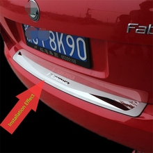 Car Styling Accessory For Skoda Fabia 2015 2016 Exterior Stainless Steel Rear Trunk Bumper Door Sill Scuff Plate Protector Trim