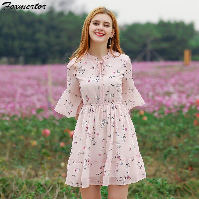 27e6eb9d1b Foxmertor Summer Dress Women Printed Chiffon Dresses New Sweet Ruffles  Floral A-line Dress Short Sleeve Casual Beach Vestidos