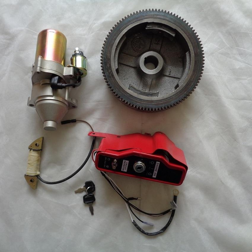 Electric Start KIT Refit For GX270 173F 177F Engnine Generator 4pcs(Switch Flywheel Start Motor Charging Coil) petrol generator parts gx240 gx270 173f 177f crankshaft diameter 25