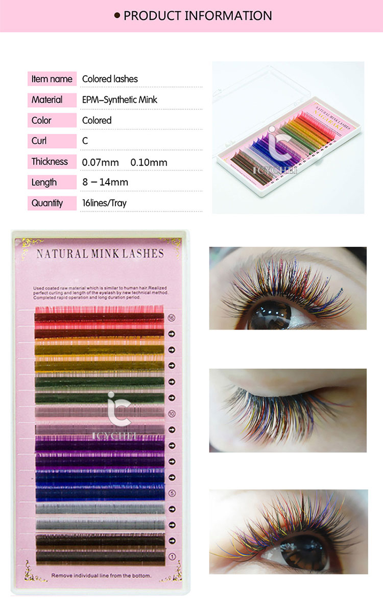 6be87998033 ICYCHEER Rainbow Colored Eyelash Extensions 16 Rows Macaron Faux ...
