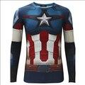 Avengers: Age of Ultron Captain America Steven Rogers Print Long Sleeve T Shirt 3D For Men Summer Tee 3XL Costume