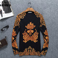 Chinese style personalized printing knitted pullover men sweater 2016 Autumn&Winter fashion casual quality sweater men M-4XL