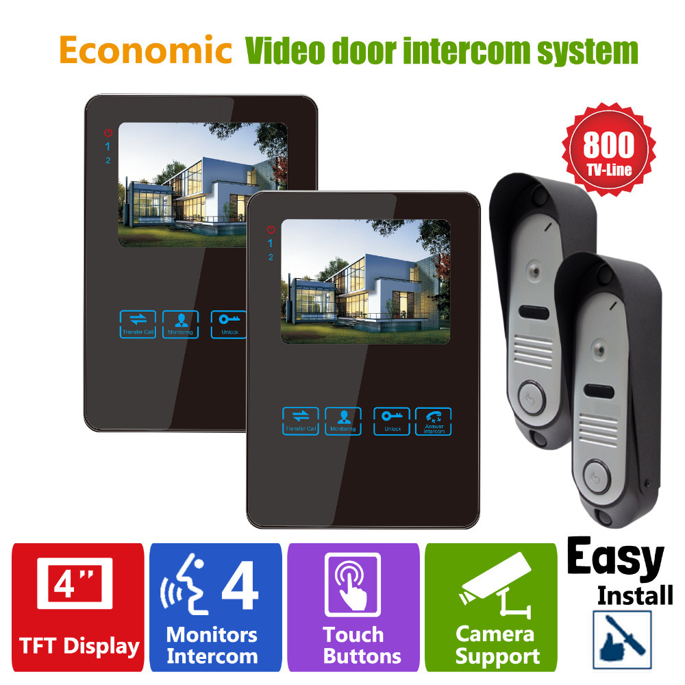 Homefong  Security 4 TFT LCD Screen Night Vision Video Door Phone Intercom Doorbell Kit HD 800TVL 2 Indoor Unit 2 Outdoor Unit 7inch video door phone intercom system for 5apartment tft lcd screen 5 flat indoor monitor with night vision cmos outdoor camera